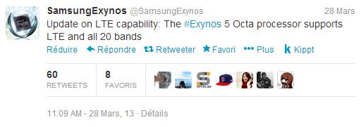 Tweet Samsung Exynos 4G LTE
