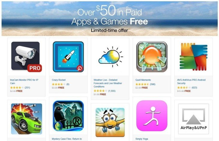 Amazon offre plus de 50 dollars d'applications Android
