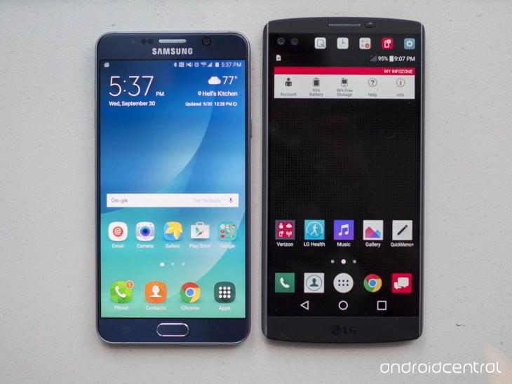 LG V10 vs Samsung Galaxy Note 5 : comparatif en images