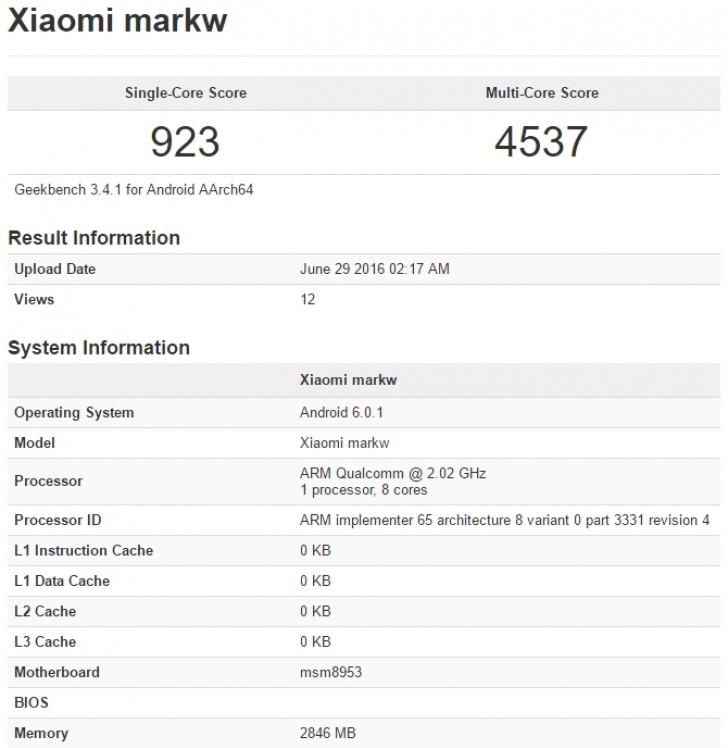 Xiaomi préparerait un nouveau smartphone baptisé Markw